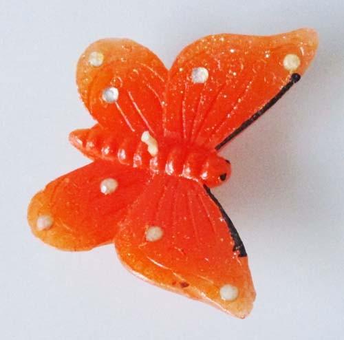3 Schwimmkerzen Schmetterling orange mit Glitzerpunkte, 7x5 cm