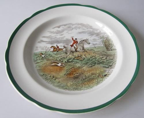 Spode Copeland Hunt-The Hunt J.F.Herring Sen. grün Speiseteller Going To Halloa Nr. 9