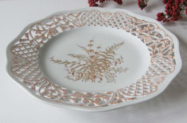 Gallo G.de Porcelaine Leonardo Fougere Goldfarn Durchbruchteller 19 cm