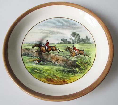 Spode Copeland The Hunt Braun Untertasse für Kaffee 14 cm First Over Nr. 4 J.F.Herring Sen.