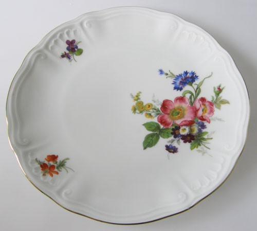 Frühstücksteller 19 cm Blumendekor Kornblume und Goldrand Wundsiedel Retsch