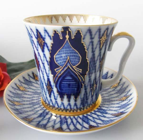 Lomonosov Kobaltblau Gold Kuppel Henkelbecher-Schokoladentasse