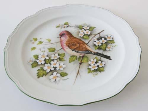 Sammelteller Winterling Röslau Dekor Vogel und Blüten Teller 24 cm