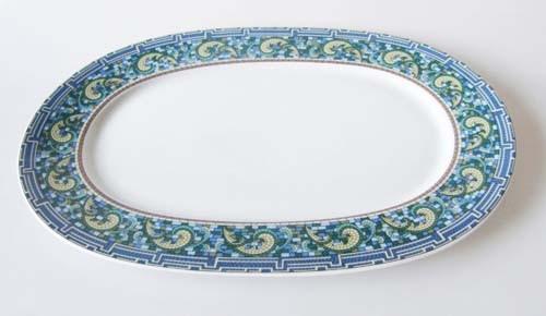 Mitterteich Form 2370 Platte oval 32x22 cm Randdekor Mosaik,blau,grün,gelb und braun