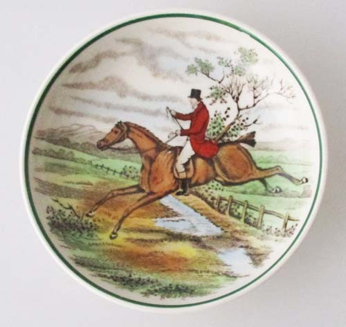 Spode The Hunt Konfektschale klein 7,5 cm, Teebeutelablage, grüner Rand, First Over