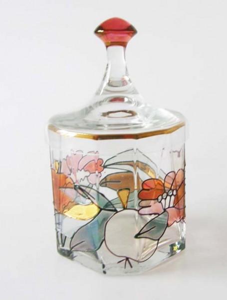 Tiffany Glas Dose mit Deckel Konfitürendose