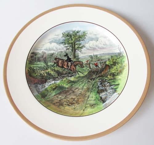 Spode Copeland The Hunt Braun Speiseteller 26,5 cm The Last Draw Nr. 12 J.F.Herring Sen.
