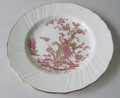Spode Y 8036 3 Frühstücksteller 20 cm Paradiesvogel in lila und Gold
