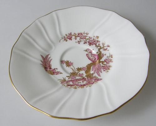 Spode Y 8036 3 Untertasse 14 cm Paradiesvogel in lila und Gold