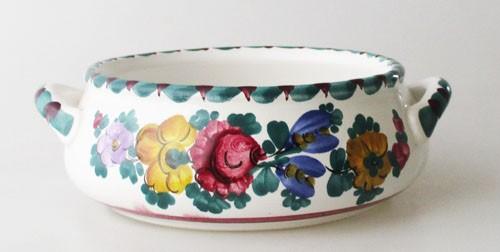 Gmundner Keramik Dekor Blumen bunt Schale mit Henkel, klein 13,5 cm
