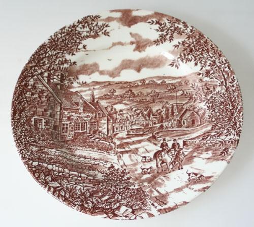 England J Broadhurst & Sons Village braune Keramik Speiseteller 25 cm