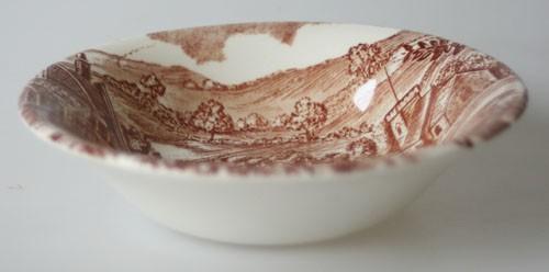 England J Broadhurst & Sons Village braune Keramik Dessert-/Kompotschale klein 13 cm