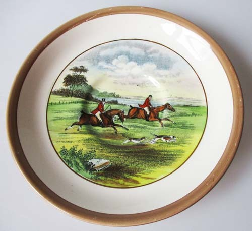 Spode Copeland The Hunt Braun Untertasse für Kaffee 14 cm Gone Away Nr. 3 J.F.Herring Sen.