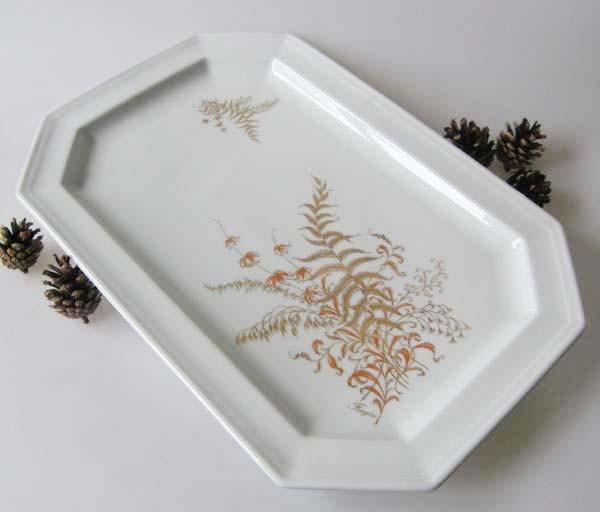 Gallo G.de Porcelaine Leonardo Fougere Goldfarn Servierplatte, groß