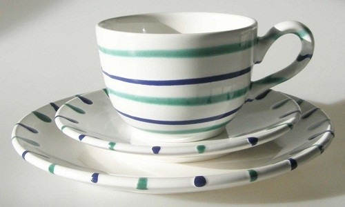 Gmundner Keramik Traunsee Frühstücks-Gedeck 3-tlg
