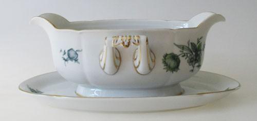 Königl. pr.Tettau Sauciere 0,4 l 1-teilig grüne Blumen mit Goldrand