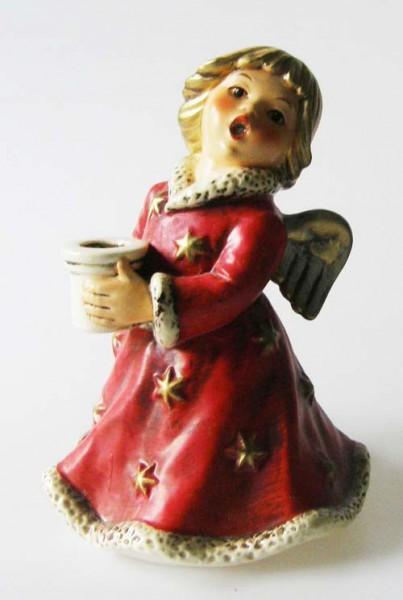Goebel Engel mit rotem Kleid und Kerzenhalter HX 328 / 1965 Höhe 15,5 cm
