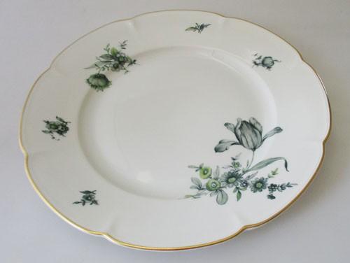Königl. pr.Tettau Speiseteller 25 cm grüne Blumen mit Goldrand