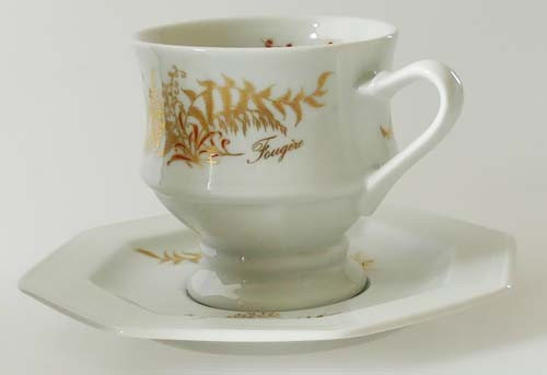 Gallo G.de Porcelaine Leonardo Fougere Goldfarn Kaffeetasse mit Untertasse Pokalform