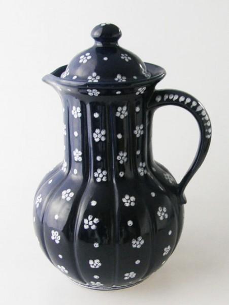Gmundner Keramik Barock Dirndl blau Kaffeekanne groß 1,70 l