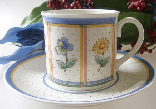 Villeroy & Boch Julie Kaffeetasse mit Untertasse, 2-tlg.