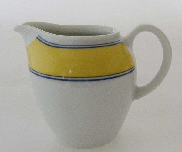 Clou & Classic Milchkännchen, klein, gelb mit blauen Rändern