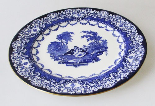 Royal Doulton Watteau blau mit Goldrand Frühstücksteller 18 cm