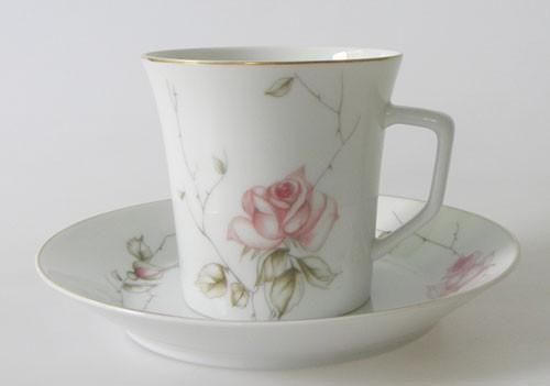 Kaffeetasse mit Untertasse Fürstenberg Goldrand mit Rosendekor 02611