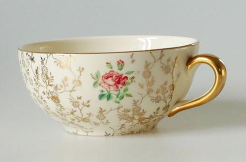Villeroy & Boch Mettlach Economic Union Kaffee- Teetasse 1tlg. Golddekor Rosen