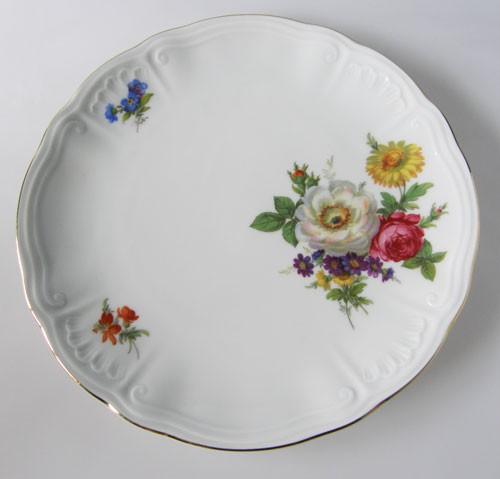 Frühstücksteller 19 cm Blumendekor Pfingsrose und Goldrand Wundsiedel Retsch
