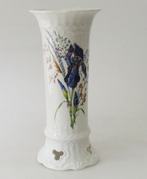 Seltmann Weiden Vase Blumendekor blau, gelb 22,5 cm