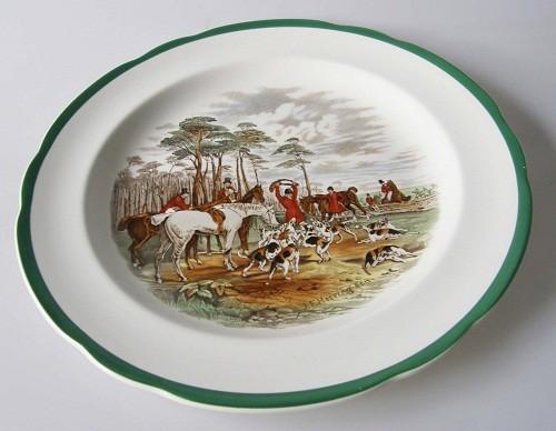 Spode Copeland Hunt The Hunt J.F.Herring Sen. grün Speiseteller 26 cm