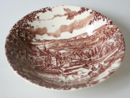 England J Broadhurst & Sons Village braune Keramik Suppenteller 20 cm