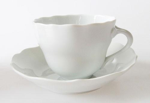 Hutschenreuther Maria Theresia weiß Kaffeetasse mit Untertasse