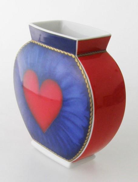 Hutschenreuther Louvre Vase, blau-rot, Herzdekor Höhe 14,5 cm