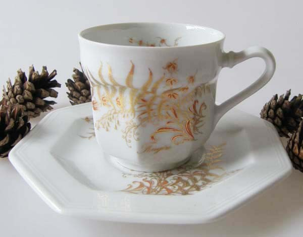 Gallo G.de Porcelaine Leonardo Fougere Goldfarn Espressotasse mit Untertasse