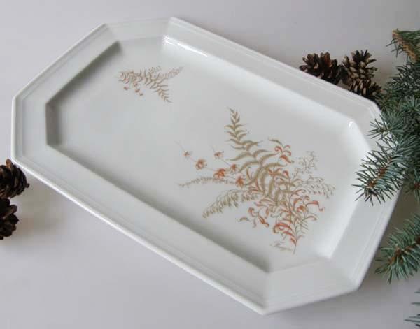 Gallo G.de Porcelaine Leonardo Fougere Goldfarn Servierplatte klein