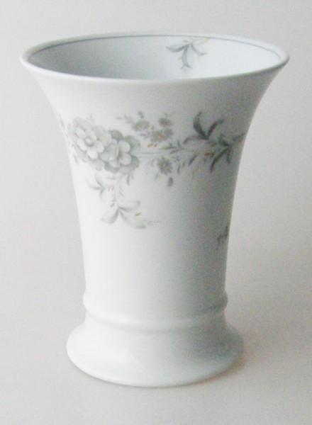 Vase 15 cm weiss dezentes Blumendekor in grau und Gold