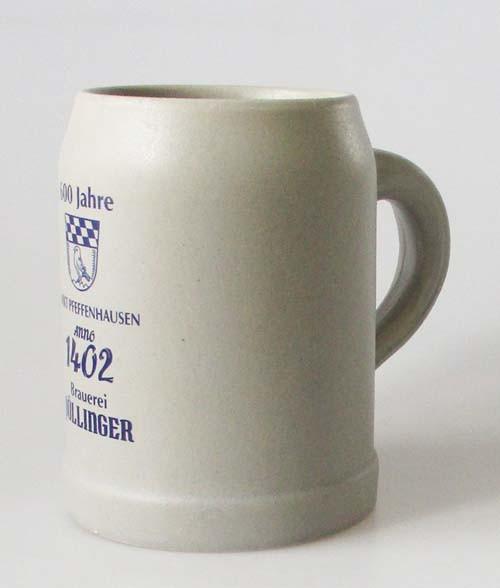 Steinkrug Bierkrug 1/2 Liter Brauerei Pöllinger 600 Jahre Markt Pfeffenhausen