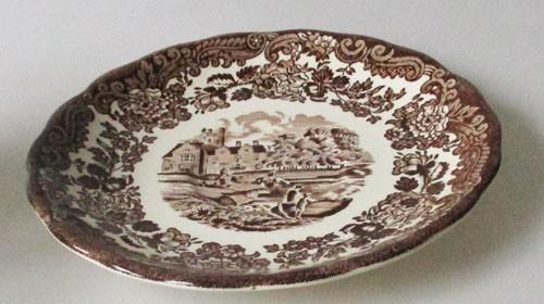 England A Royal Worcester L Avon Scenes Palissy Keramik braun Untertasse für Kaffeetasse 13,5 cm