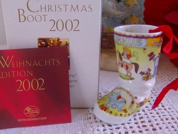 """Hutschenreuther Porzellan Weihnachtsstiefel """"In der Manege"""" 2002"""