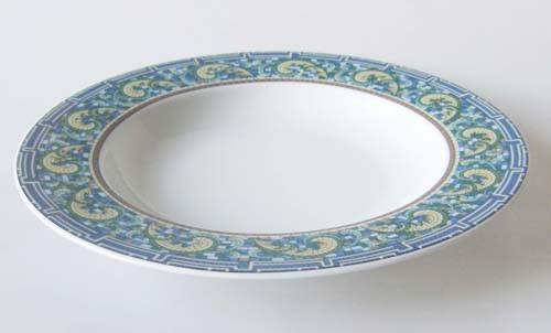 Mitterteich Form 2370 Suppenteller 23 cm Randdekor Mosaik,blau,grün,gelb und braun, gebraucht