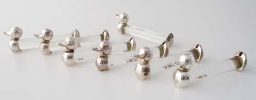 Rosenthal Messerbänkchen 6er Set Glas und versilbertes Metall Ente 7,2 cm