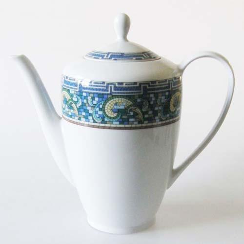 Mitterteich Form 2370 Kaffeekanne 1,40 l Randdekor Mosaik,blau,grün,gelb und braun