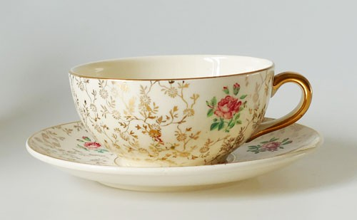 Villeroy & Boch Mettlach Economic Union Kaffee- Teetasse 2tlg. Golddekor Rosen