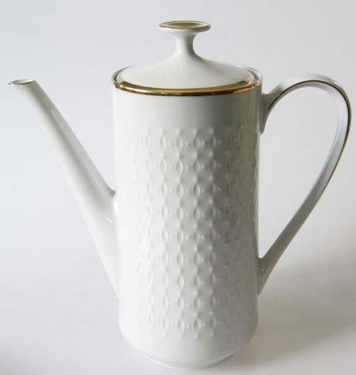 Mitterteich Relief weiß mit Goldrand Kaffeekanne 1,3 l
