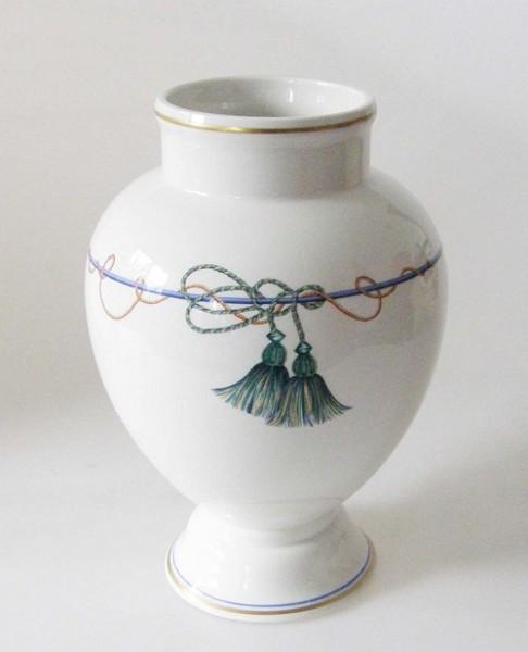 Villeroy & Boch Verdi Vase, hoch weiss mit blauen Quastendekor und Goldrand 20 cm