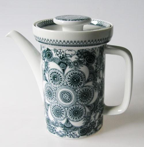 Thomas Kaffeekanne für 6 Pers. Form T künstlerisches Blumendekor dunkelgrün