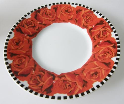 Dibbern rote Rosen schwarz weiss Untertasse 14,5 cm