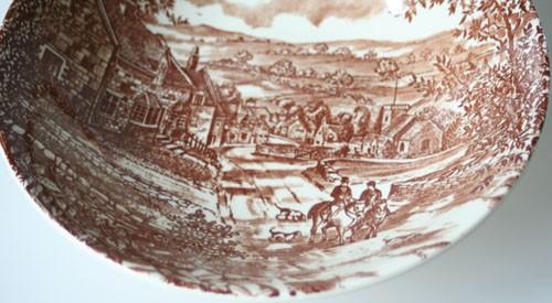 England J Broadhurst & Sons Village braune Keramik Schüssel 22,5 cm